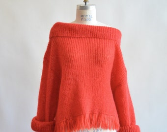 Vintage 1990s FRINGED mohair sweater