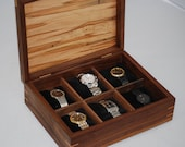 Handcrafted Ambrosia Maple & Quilted Maple Watch box - Holds 6 Watches