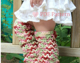 Toddler Leggings, Crochet Leg Warmers, Baby Leggings, Scallops and Lace, Baby Winter Accessory, Crochet Pattern, DIY pattern