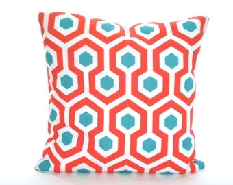 OUTDOOR Aqua Coral Pillow Covers, Patio Pillows, Throw Pillows Cushion Covers Coral Aqua White Magna Calypso Palms, One or More ALL SIZES