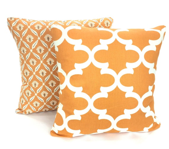 Throw Pillows Cream : Orange Cream Pillow Covers Decorative Throw Pillows