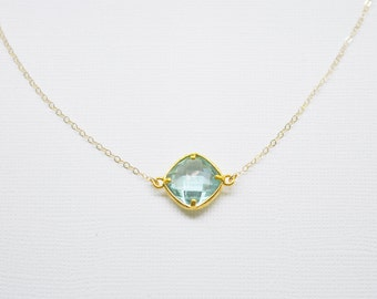 Aqua Gem Necklace - crystal solitaire on gold filled chain something blue dainty sparkle