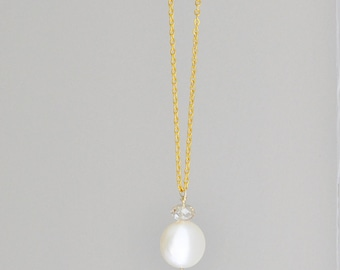 Orchid Petal Crystal & Pearl Necklace - light purple teardrop pendant with ivory coin pearl on long gold plated chain