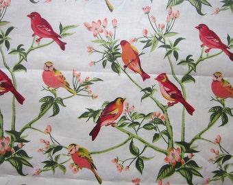 vintage fabric - Schumacher SINGING TREE bird fabric - 1.75 yards x 36 inches wide