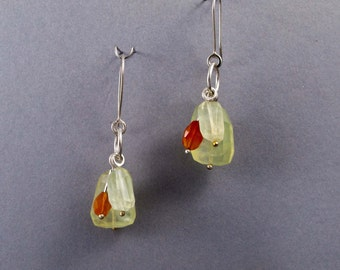 Green Prehnite and Orange Carnelian Cluster Earrings in Sterling Silver - Ready to Ship