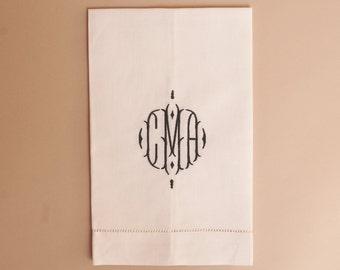 Hemstitched Ecru Linen Guest Towel with Monogram