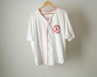 Boston RED SOX vintage BASEBALL 90s super soft t-shirt men's ringer jersey type shirt
