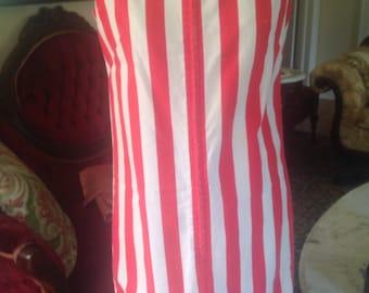 Vintage Flag Dress Red White Stripes Yarn Fringe Shift