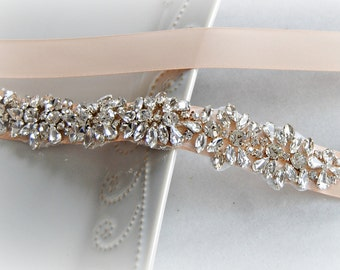 Crystal Skinny Sash, Blush Pink Bridal Belt, Bridesmaid Sash - ELLIE
