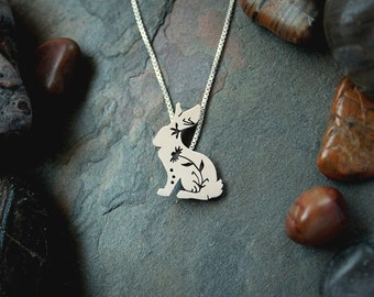 Floral Rabbit Pendant, sterling silver bunny, rabbit necklace, wildflower, wildlife
