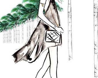 Watercolour fashion illustration Titled Strolling Through The Hills