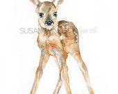 Deer Fawn Watercolor Print - 16 x 20 - Large Poster Print - Watercolor Painting Reproduction