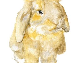 Brown Mini lop Rabbit Watercolor Painting - 4 x 6 - Giclee Fine Art Print - Woodland Animal Bunny Art