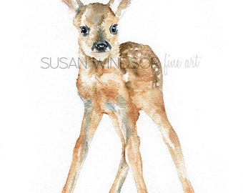 Deer Fawn Watercolor Print - 16 x 20 - Large Poster Print - Watercolor Painting Reproduction