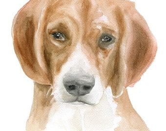 Beagle Watercolor Painting Giclee Print Preproduction 8 x 10 - 8.5 x 11 - Dog Lover Fine Art