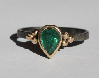 Hand Forged .90 CT Natural Zambian Emerald Ring Oxidized Sterling And 14K Gold SZ 7
