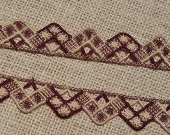 Vintage Lace Trim Maroon Burgundy Beige Geometric