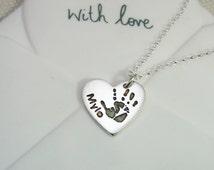 Sterling Silver .925 Handprint / Footprint / Paw Print Pendant Necklace