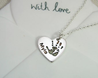 Sterling Silver .925 Handprint / Footprint / Paw Print Pendant Necklace