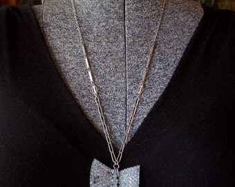 Blue Pave Rhinestone Bow Pendant Statement Necklace with Vintage Silver Chain Tassel