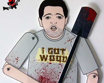 Ed Shaun of the dead tribute paper doll assembled articulated fan art Nick Frost zombies movie