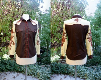 Vintage 1990's Cowgirl Western Shirt in Size Small Embroidered Roses Rhinestones Brown Tan Red Vintage Retro 90's Heritage Gordon & James