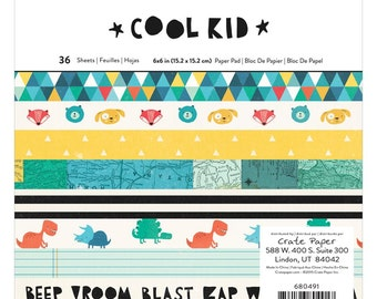 Crate Paper COOL KID Collection 6 x 6 Single Sided Paper Pad