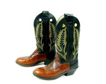Black and Brown Cowboy Boots by DURANGO - Men's Size 8 D