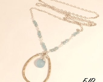 Silver, Bronze and Gemstone Long Necklace