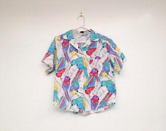 Vintage 1980s Plus Size Parrot Print Button Down Collared Shirt