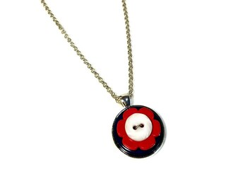 Red White Blue, Mod Flower Necklace, Button Pendant, Repurposed Button, Upcycled Jewelry, Flower Power