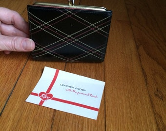 vintage 1960's leather wallet / mod billfold / argyle detail stitching