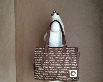 WEEKEND SALE! 1970's canvas tote /shoulder bag /purse / famous places New York Japan Zurich Italy France...
