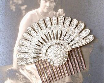 Authentic Art Deco Hair Comb, 1920s Vintage Rhinestone Fan, Flapper Crystal Dress Clip Bridal Hair Accessory Great Gatsby Wedding Headpiece