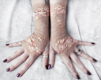 Persica Lace Fingerless Gloves | Pale Tan Blush Peach Ivory Floral Embroidered | Bridesmaid Bridal Rustic Wedding Sand Boho Mori Gothic Goth