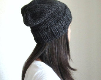 Knit Slouchy Hat / Women's Hat / Men's Hat / Charcoal