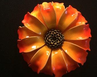 Bright Orange Flower Brooch // Orange Flower // Vintage Brooch