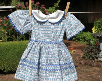 Toddler Baby Dress Vintage Handmade 1950s Blue Print Rickrack Trim