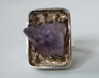 Vintage Brutalist Modernist Denmark Sterling Silver Raw Amethyst Crystal Druzy Ring IB & W sz 7.5