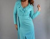 RESERVED RESERVED Women's Dress, Vintage 70s, Long Sleeve, Office, Work, Wedding Guest, Robin's Egg Blue, Mad Men,Disco, Mod, Size Medium