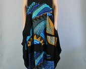 Vintage 90s Women's Black Royal Blue Modern Gauze Bold Print Sleeveless Draped Hippie Music Festival Tank Dress