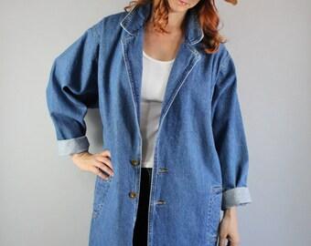 Vintage 80s Women's New Wave Southwest Modern Prairie Boho Fall Long Maxi Duster Denim Jacket Full Length Coat
