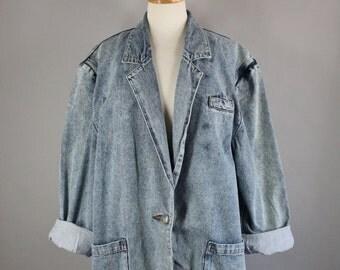 Vintage 80s Women's New Wave Acid Wash Distressed Denim Jean Jacket Blazer
