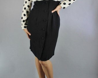 Vintage 80s does 50s Black White Polka Dots Long Sleeve Form Fitting Dress