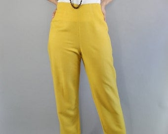 Vintage 90s Women's Gold Yellow Spring Summer High Waisted Linen Blend Pants