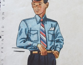 Vintage 1950's Sewing Pattern for a Boy's Shirt Simplicity S33