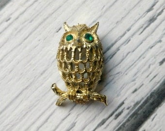 Vintage Owl Pin - Gold Owl Pin - Gold Owl Brooch - 1960s Owl Pin - Back to School Pin - Green Rhineston Owl Pin - Wise Old Owl Brooch