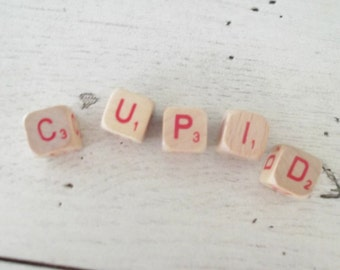 Cupid Sign Valentine's Decoration Cupid Wood Letter Cubes Small Blocks