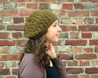 Knit Beanie Beret, Hand Knitted Slouchy Beanie, One of a Kind Women's Beret, Olive Brown Knit Tam Hat, College Student Gift, Winter Fashion