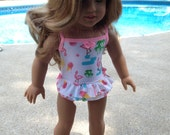 NEW! One-piece  ruffled skirted Swimsuit/dress made to fit 18 inch American Girl doll